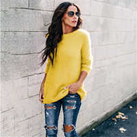 Vintage Yellow Sweater Women Pullover Pull Femme Cashmere Winter Warm Female Loose Long Sleeve Fashion Casual Women's Clothing