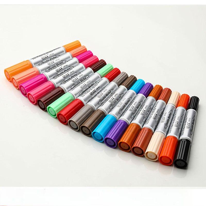 Seni Profesional Marker Kantor Belajar 12 24 Warna Kapasitas Besar Double Tip Berminyak Warna Marker Sikat Pena Menggambar Perlengkapan Aliexpress