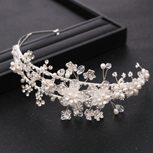 Bride Hair Accessories Silver Color Flower Headdress Rhinestone Crystal Pearl Crown Wedding Tiara Princess Headband Jewellery trendy bridal tiara handmade silver color rhinestone crystal headband wedding hair accessories princess tiara hair jewellery