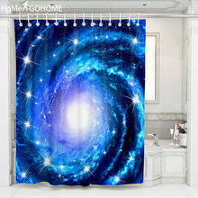 Galaxy Shower Curtain 3D Bathroom Curtains Starry Night Psychedelic Decoration Bath Waterproof Blue Art