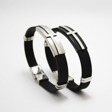 Fashion Newest Men Jewelry Black Silicone Rubber Bracelet Silver / Black Cross Stainless Steel Trendy Men Bracelets недорого
