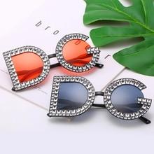 DG Gorgeous Women Sunglasses Crystal Diamond Handmade Round Eyewear UV400 Mirror Lens Flower Design Summer Sun Glasses