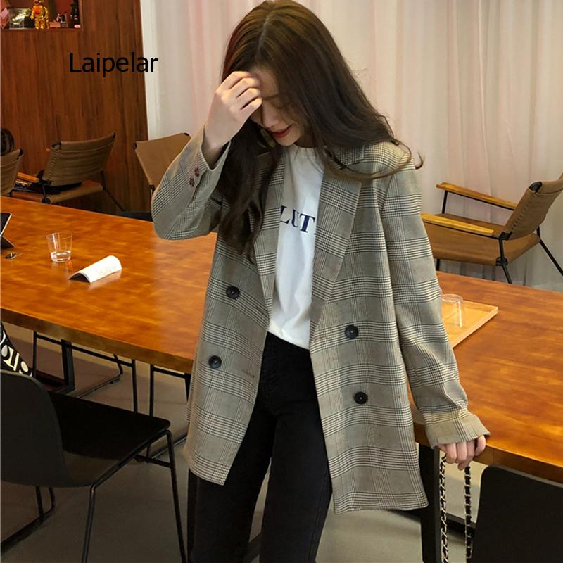 Office Ladies Notched Collar Plaid Women Blazer Double Breasted Autumn Jacket 2021 Casual Pockets Female Suits Coat