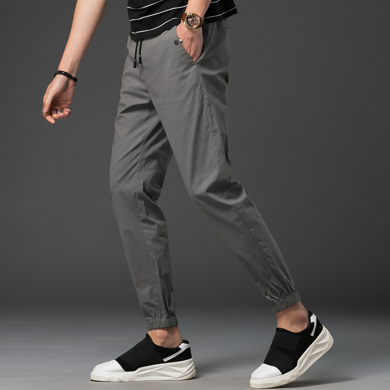 Summer MAN'S Ninth Pants Teenager Korean-style Cotton Linen Skinny Casual Pants Trend Pure Cotton Beam Leg Harem Pants Wholesale