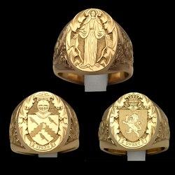 Punk ręcznie rzeźbione pierścienie dla mężczyzn złoty kolor lew zbroja korona sygnet jakość Superior pierścienie świadczące o osobowości obecny pierścień uszczelniający
