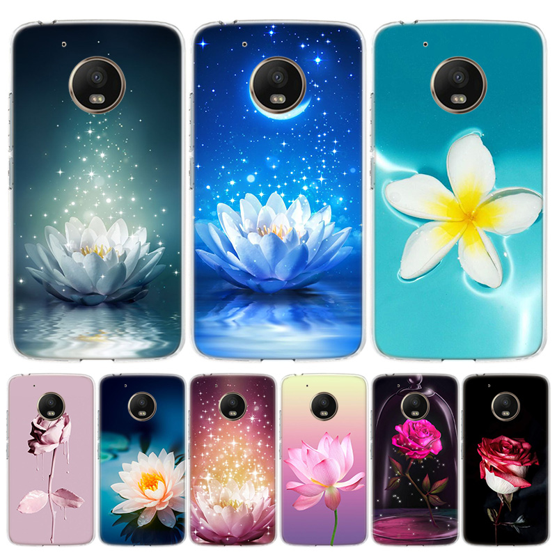 Rose Lotus Flowers Cover Phone Case For Motorola Moto G8 G7 G6 G5S G5 E6 E5 E4 Plus G4 Play EU One Action X4 Pattern Coque