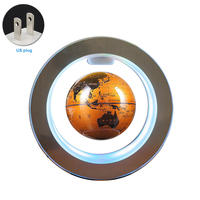 Desktop Earth Office Illuminated Led Floating Globe Auto Rotating Gift World Map Decorative Home Magnetic Levitation 4 Inch