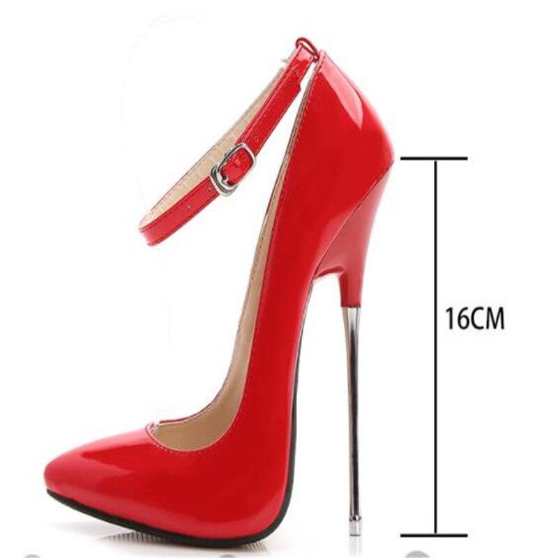 Женские кожаные туфли-лодочки, красные, черные вечерние туфли на шпильке 16 см, серебристого цвета, модная свадебная обувь, 2019