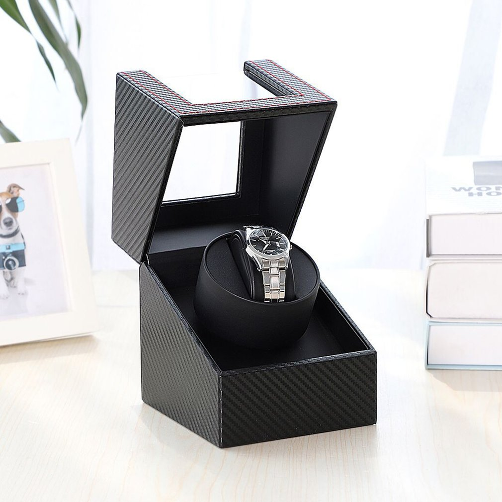 Carbon Motor Shaker Watch Winder Holder Display Automatic Mechanical Watch Winding Box Jewelry Automatic Watch EU/US/UK/AU 2019