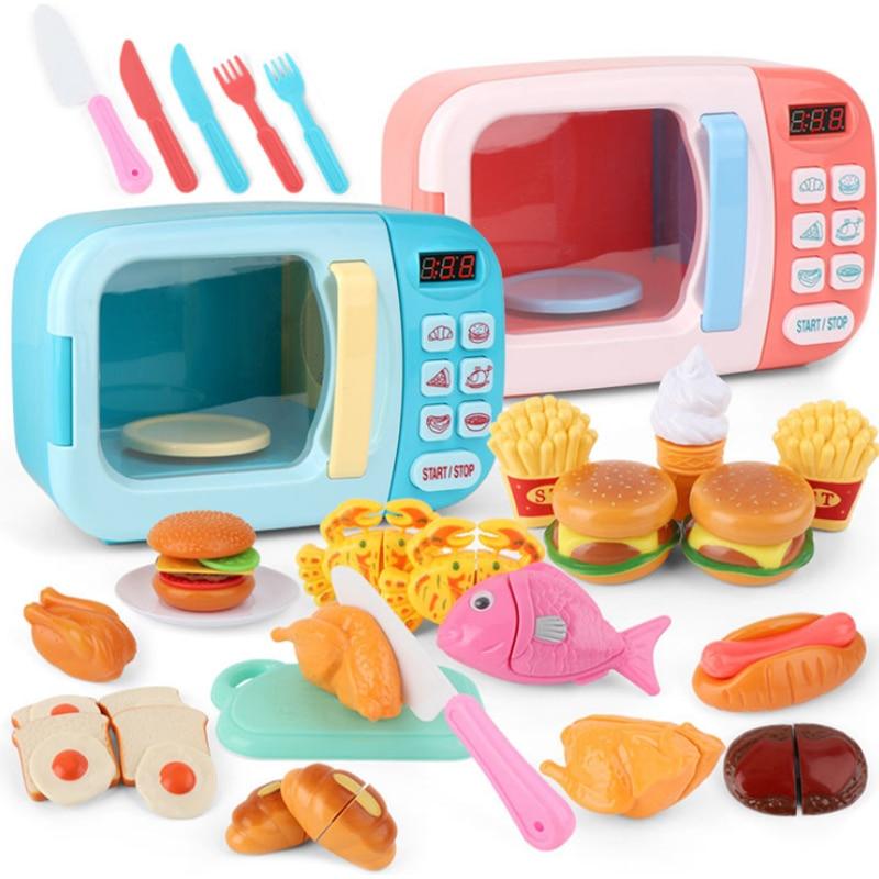 Juguetes de cocina de simulación para chico, juguetes educativos para horno de microondas, Mini comida de cocina, juego de simulación, juego de corte, juguetes para niñas