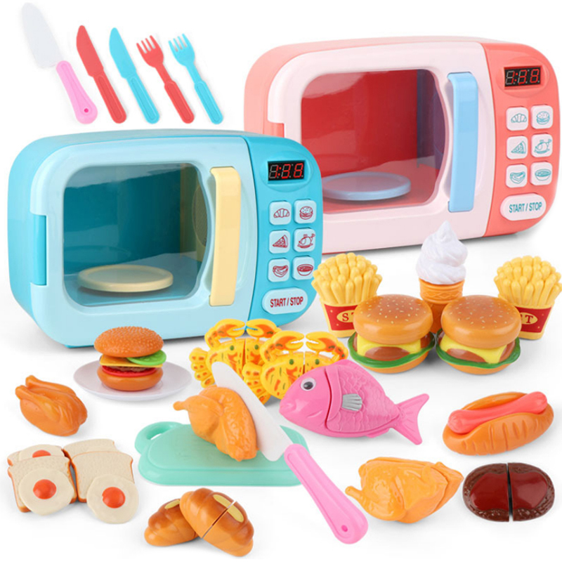 Kid's Kitchen Toys Simulation Microwave Oven Educational Toys Mini Kitchen Food Pretend Play Cutting Role Playing Girls Toys