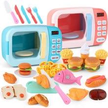 Brinquedos de cozinha do miúdo simulação forno microondas brinquedos educativos mini cozinha comida fingir jogar corte papel jogando meninas brinquedos