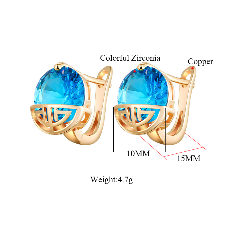 Classic Hollow Design Zirconia Round Stud Earrings for Women Red Blue Black Green CZ Crystal Small Earings Wedding Party Jewelry