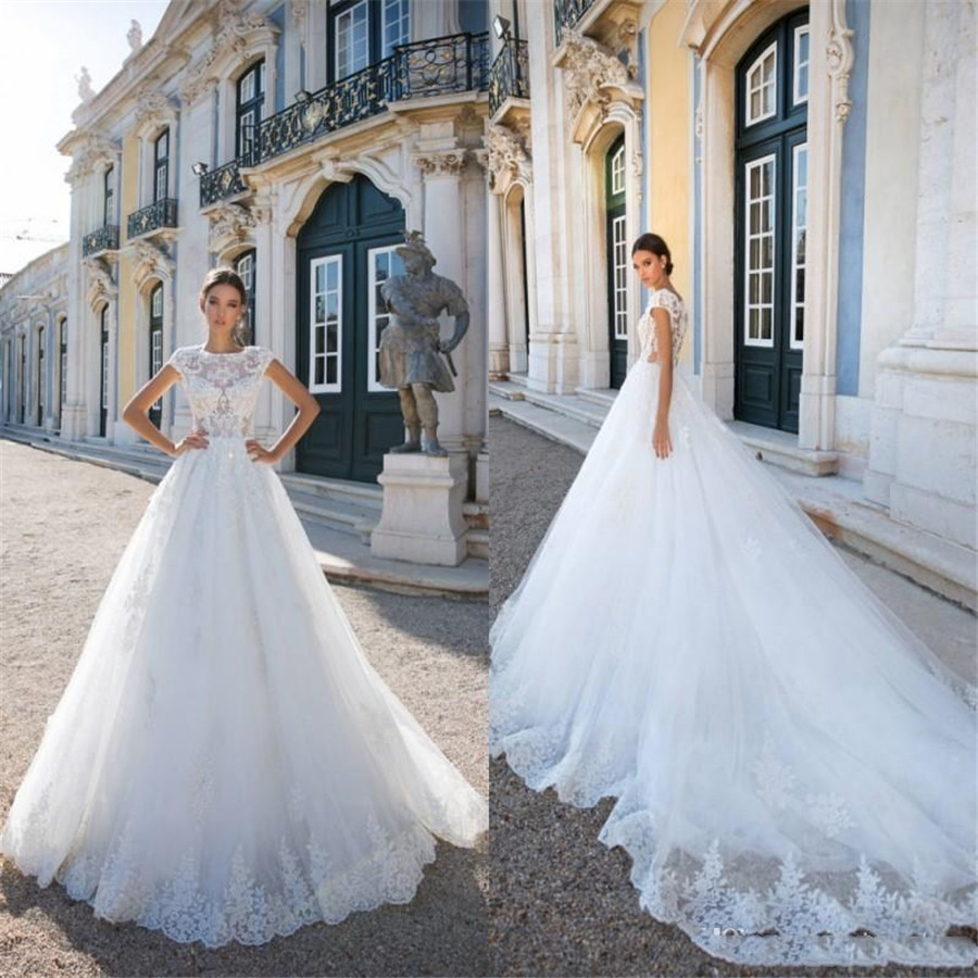 Lace Short Sleeves A-Line Wedding Dresses Modest Lace Appliques Bridal Dress 2020 Formal Long Garden Spring Wedding Gowns