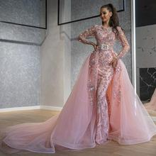 Arabic Pink Evening Gowns Mermaid Luxury Beading  With Detachable Train Ling Sleeves Custom Made Dubai Prom Long Dresses