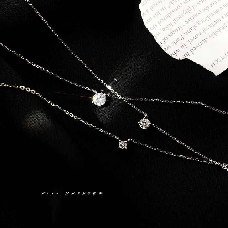 Louleur 925 סטרלינג כסף שרשרת 0.3 cm/0.4 cm/0.5 cm זירקון שרשרת לנשים קיץ תכשיטים