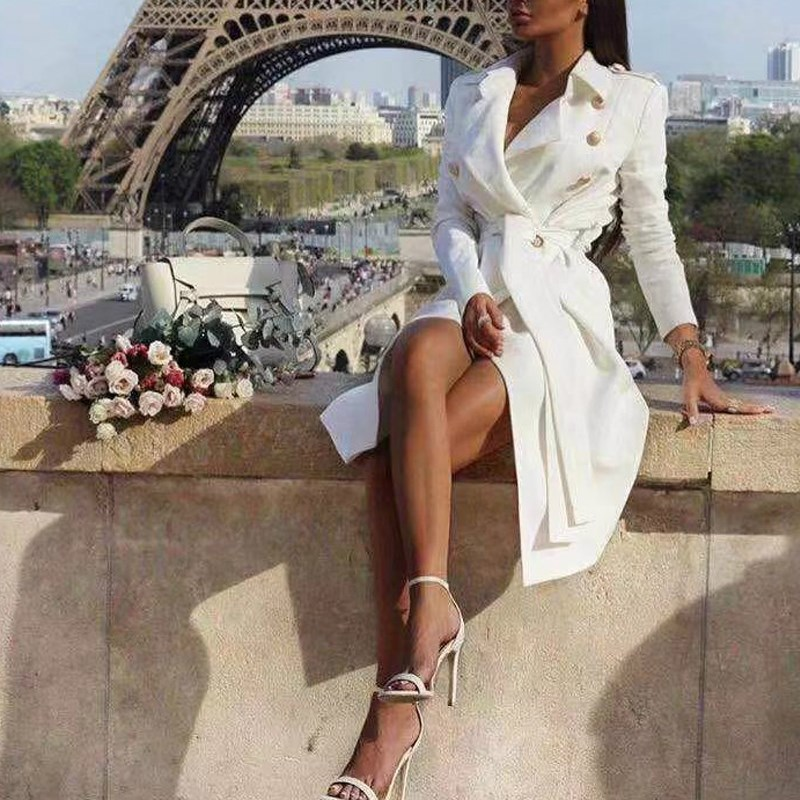 Vintage double breasted slim white   trench   women coat Sashes long   trench   female Winter office solid   trench
