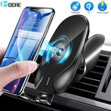 Беспроводное Автомобильное зарядное устройство QI, 15 Вт, держатель для телефона с автоматическим гравитационным зажимом для iPhone 12, 11, 8, XR, XS, ...