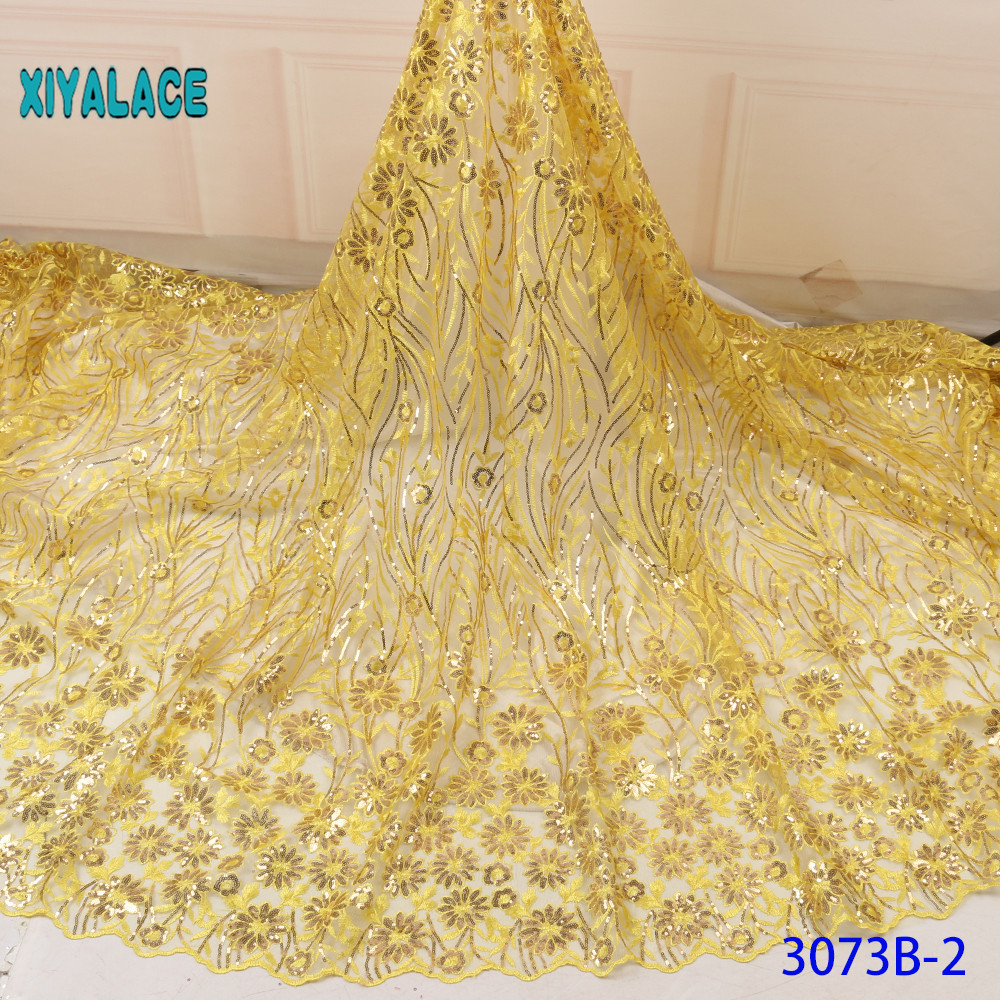Luxury Pure Yellow Black African Sequins Mesh Lace Fabric 2019 High Quality Nigerian French Tulle Lace Net Lace Fabric YA3073B-2