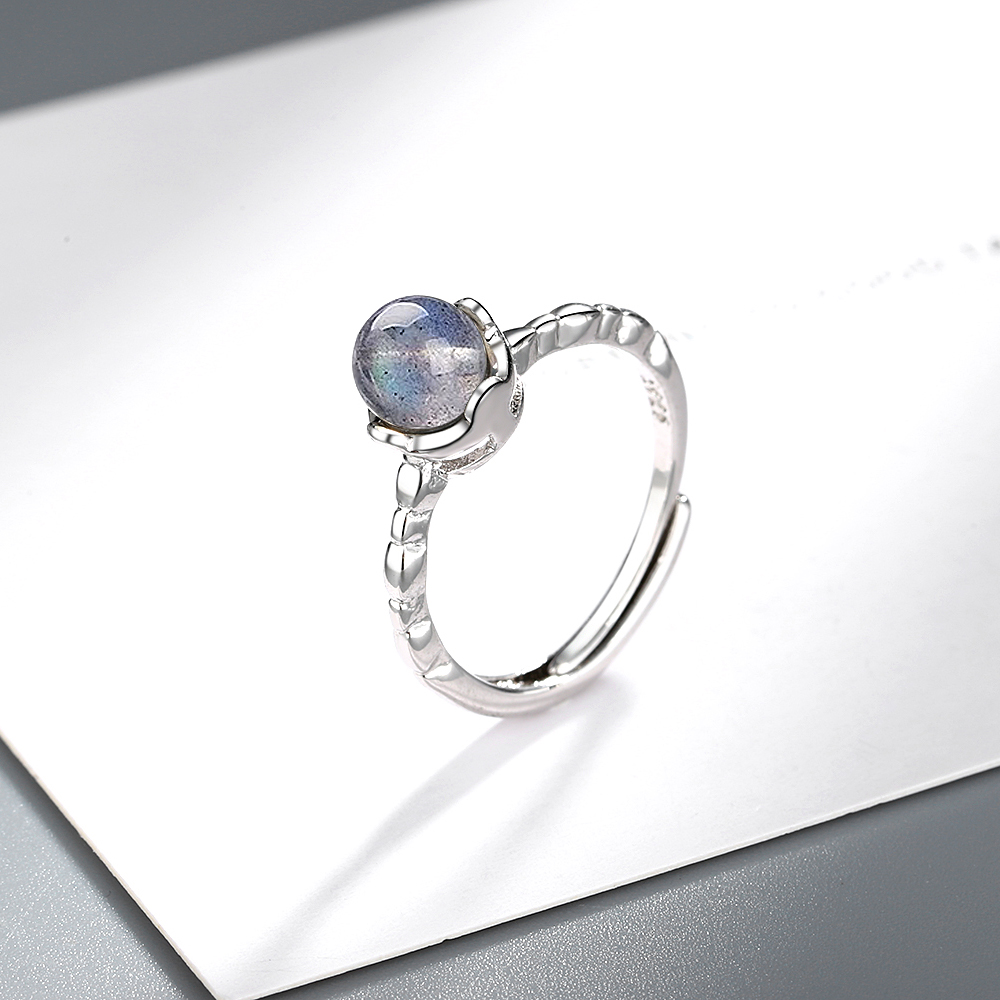 925 Sterling Silver Moonstone Open Finger Rings Simple Fashion Wedding Party Ring Jewelry Gift For Women S-R574