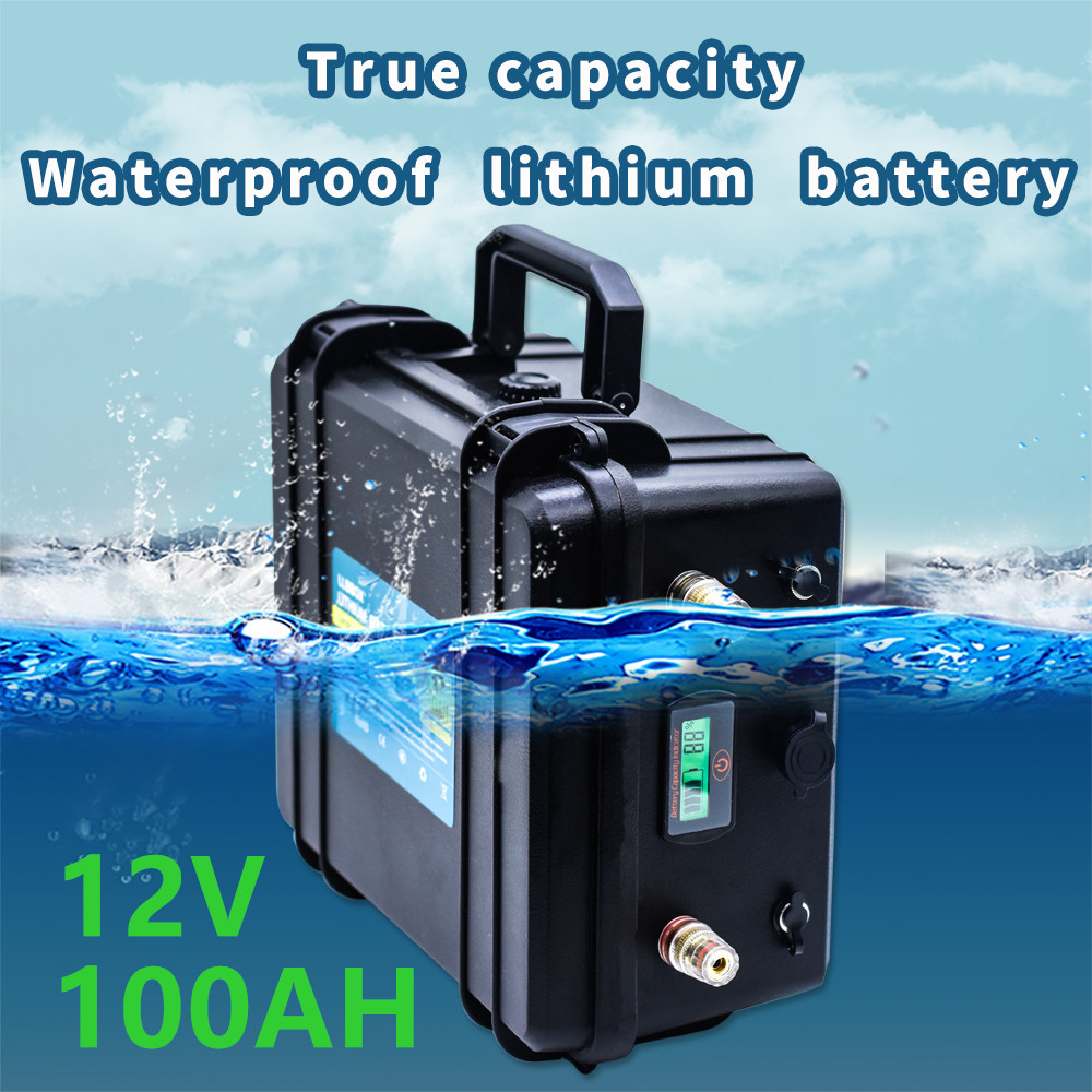 <font><b>12V</b></font> <font><b>100AH</b></font> <font><b>lithium</b></font> <font><b>battery</b></font> pack <font><b>12V</b></font> <font><b>lithium</b></font> <font><b>100AH</b></font> waterproof <font><b>battery</b></font> pack with 10A charger for Boat propellers, fishing lights image