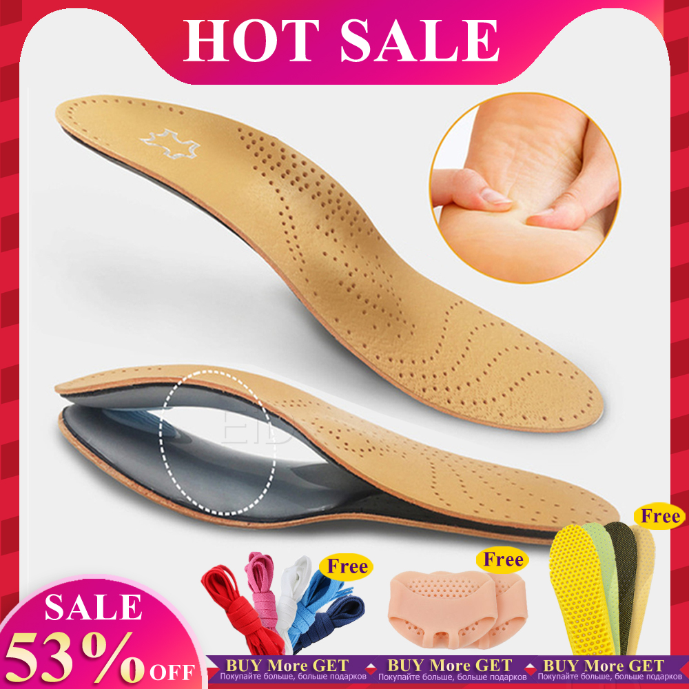 Leather orthotic insole for Flat Feet Arch Support orthopedic shoes sole Insoles for feet men women O/X Leg corrected foot care