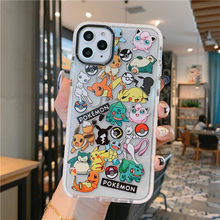 Monsters pokemon pikachu caso de telefone para iphone x xs 11 pro max 12 pro max casos desenhos animados bonito telefone capas tpu casos presente