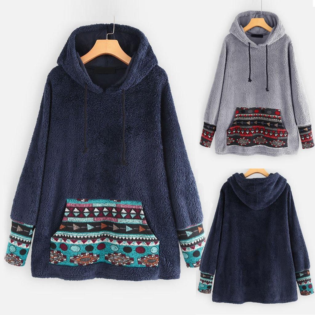 Female Jacket Plush Coat Womens Windbreaker Winter Warm Outwear Folk custom Print Hooded Pockets Vintage Oversize Coat Plus Size