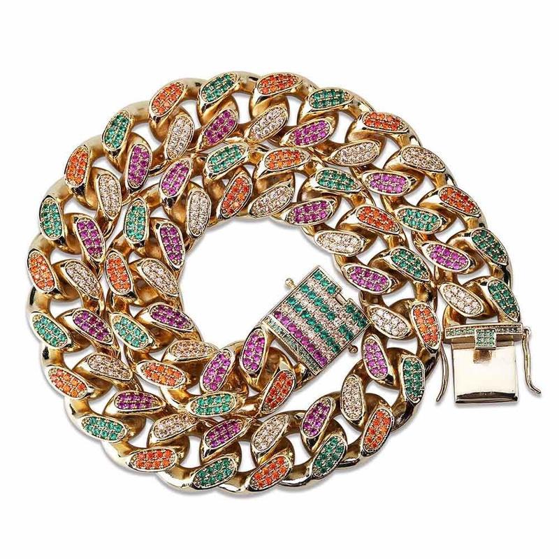 18/22 pouce HipHop doré glace cristal Miami chaîne cubaine or et argent collier pour hommes et femmes cadeaux
