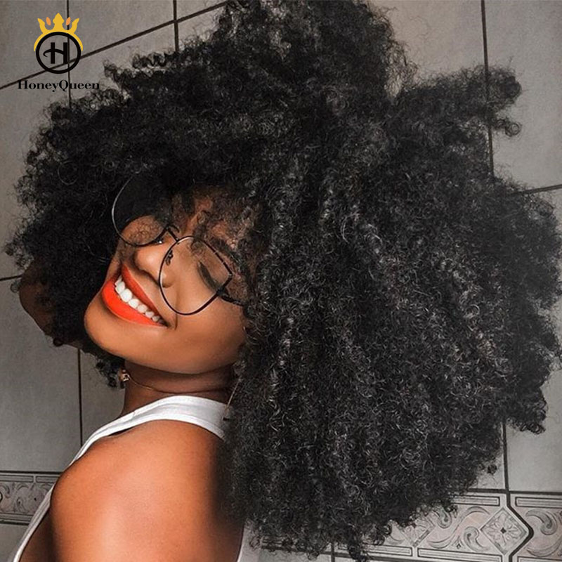 4B 4C Afro Kinky Curly Hair Clip In Human Hair Extensions 7 Pcs 100% Mongolian Human Hair Natural Color Clip Ins Remy Hair