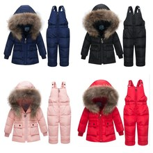 цена на 2019 New Baby Winter Snowsuits Kids Down Jacket Set Baby & Toddler Winter Thickening Set Short Boys And Girls Down Jacket