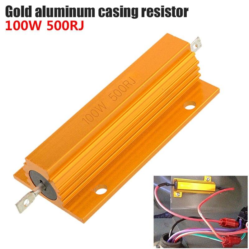 Draadgewonden Weerstand High Power Resistor Aluminum Shell Resistance Portable Durable Practical 500Ω Yellow 100W Wire Winding