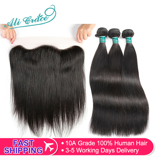 $ US $96.73 Ali Grace Straight Hair Bundles With Frontal 13*4 Medium Brown Lace Color Remy Brazilian Human Hair Bundles With Frontal