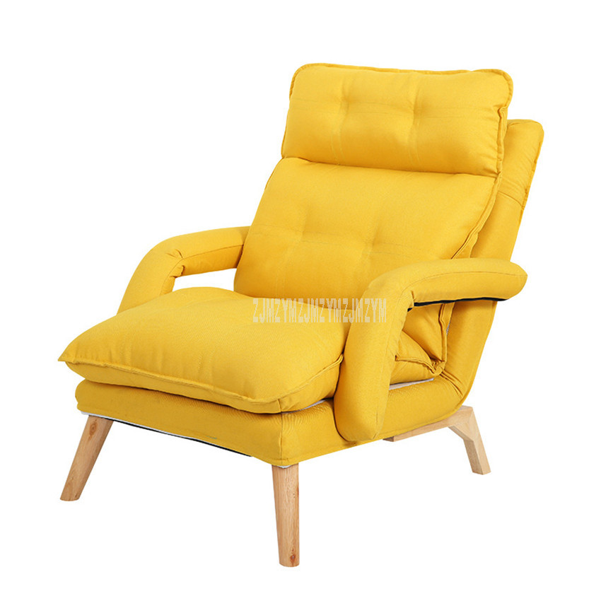 Lazy Lounge Chair Lying Reclining Chair With Footstool 4-Gear Backrest Living Room Learning WatchingTV Leisure Single Sofa Chair