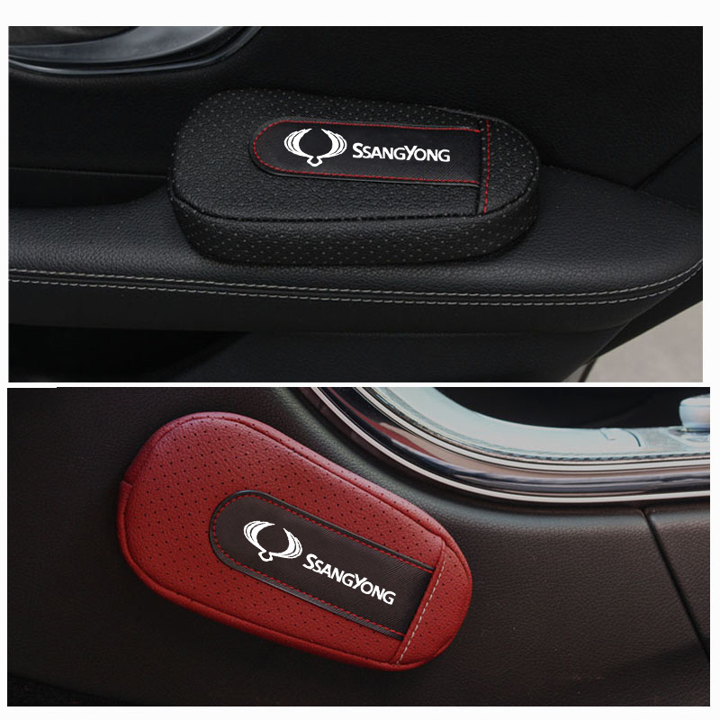 Car Accessories Soft and Comfortable Foot Support Cushion Car Door Arm Pad Car Styling For Ssangyong Logo Kyron Korando Rexton