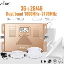Pantalla LCD de doble banda, amplificador de señal de teléfono móvil, 2g + 3g + 4g180 0/2100mhz