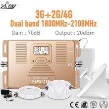 Tam akıllı! Çift bant LCD ekran hızlı 2g + 3g + 4g180 0/2100mhz mobil sinyal güçlendirici hücresel cep telefon sinyal tekrarlayıcı amplifikatör