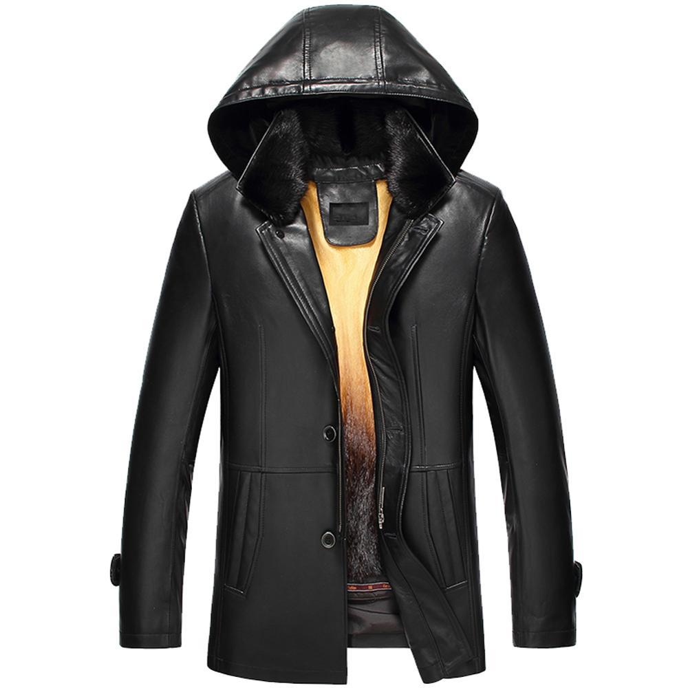 Mens Sheepskin Coat Detachable Hooded Black Mink Fur Coat Mink Fur Collar Rex Rabbit Fur Warm Winter Fur Jacket Trench Coat