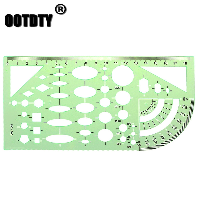 Green Geometric Template Ruler Plantillas Letras Drawing Tools Mapping Student School Stationery Dropshipping