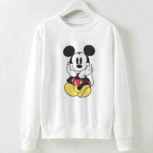 2019 New Women Sweatshirts Hoodies Harajuku Cartoon Printed Casual Pullover Cute Jumpers Top Long Sleeve O-neck Polyester Tops