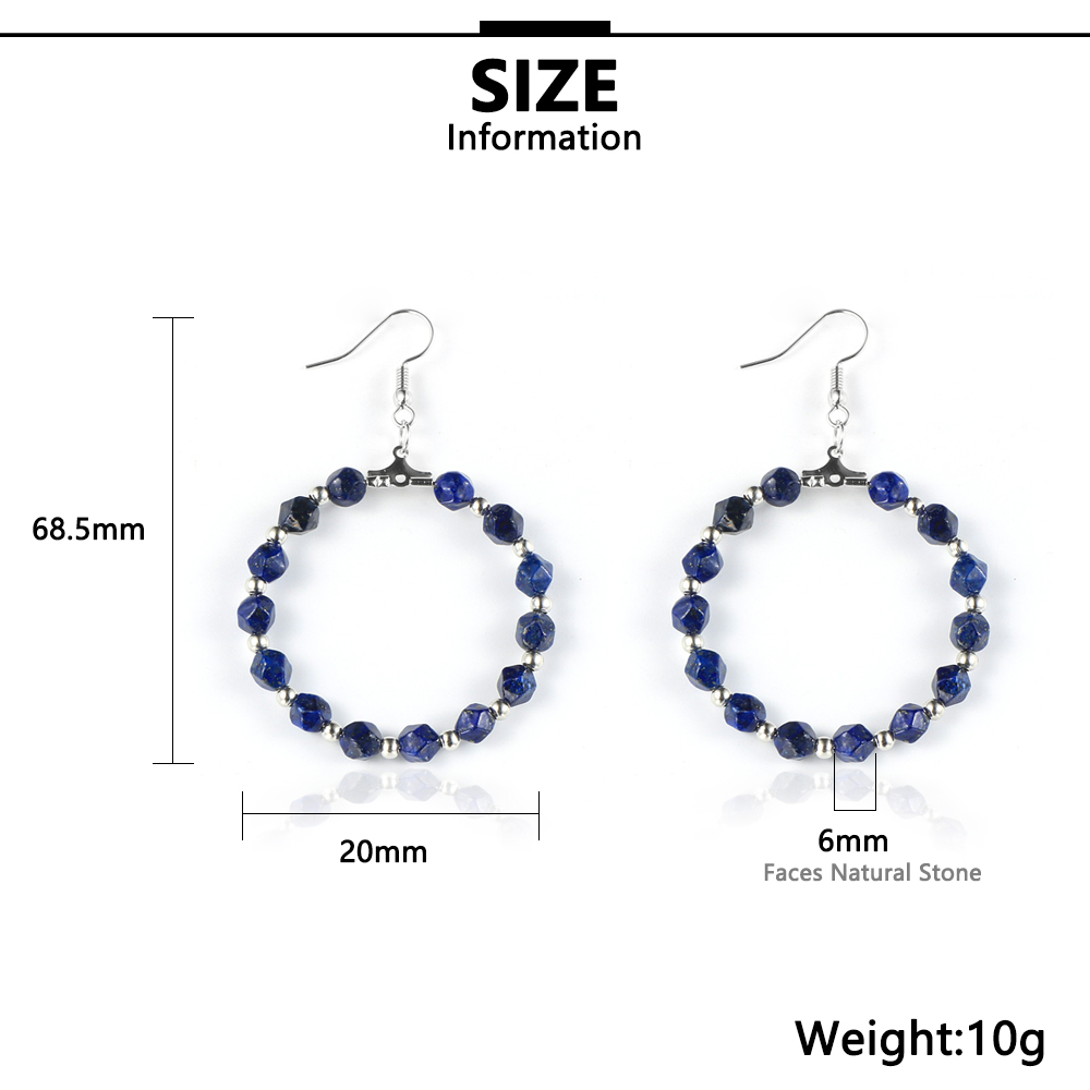 BOHO Natural Gem Stone Beads Hoop Earring For Women Faced Tiger Eye Stone Lapis Lazuli With 4cm Big Circle Round Earrings