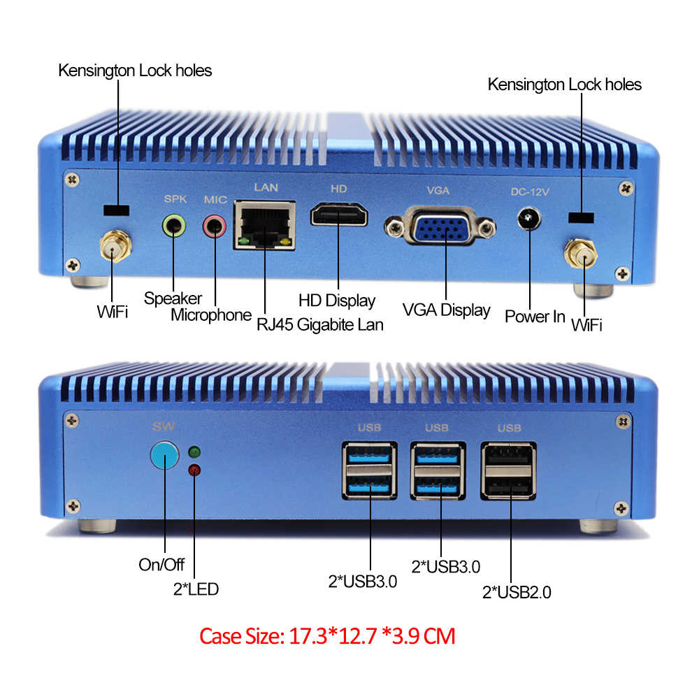 Topton gospodarstwa domowego bez wentylatora Mini komputer Intel Core i3 5005U i5 7200U DDR4 16GB HD Graphics 620 4K HTPC HDMI VGA Port wyświetlacza niski pobór mocy