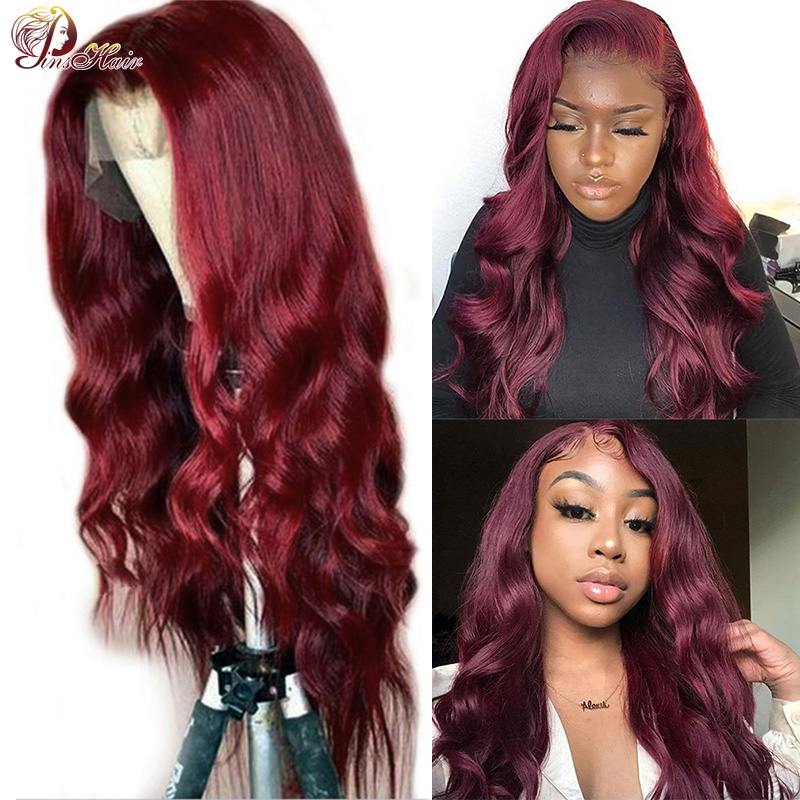 Lace Front Human Hair Wigs For Black Women 99J Red Brazilian Body Wave Lace Frontal Wig Remy Preplucked Hair Pinshair Lace Wigs