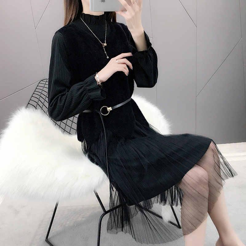 Musim Semi Musim Panas Wanita 2020 Sweater Mesh Partai Gaun Pakaian Wanita Gaun Vintage Korea Gaun Elegan Vestidos ZT1939