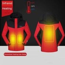 2019 zimowe kurtki mężczyźni kobiety utrzymać ciepłe parki odkryty inteligentny USB ogrzewanie na podczerwień płaszcz człowiek elektryczny termostat odzież z kapturem