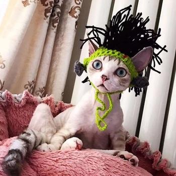 Kot domowy akcesoria do włosów czapka z peruką śmieszne włosy Afro nakrycia głowy szczenięta psy przebranie na karnawał nakrycia głowy słodkie nakrycia głowy tanie i dobre opinie CN (pochodzenie) cats 100 bawełna