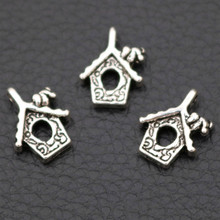Retro Small House Metal Pendant, Mini Charms, Tree Pet DIY Accessories,Tibetan Silver 20pcs