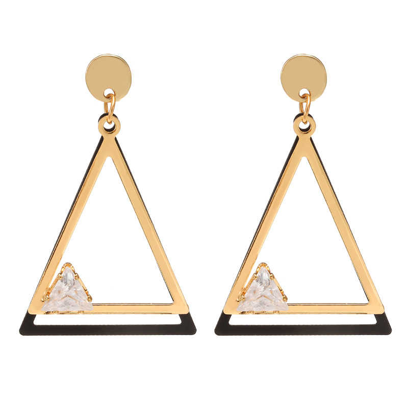 Korean Simple Metal Round Earrings Cubic Zirconia Geometric Triangle Drop Earrings For Women Fashion Jewelry Oorbellen Brincos