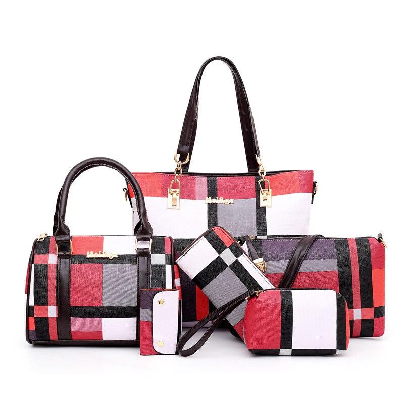 Luxury Handbags 2020 New 6 PCS Set Women Plaid Colors Handbag Female Shoulder Bag Travel Shopping Ladies Crossbody Bag