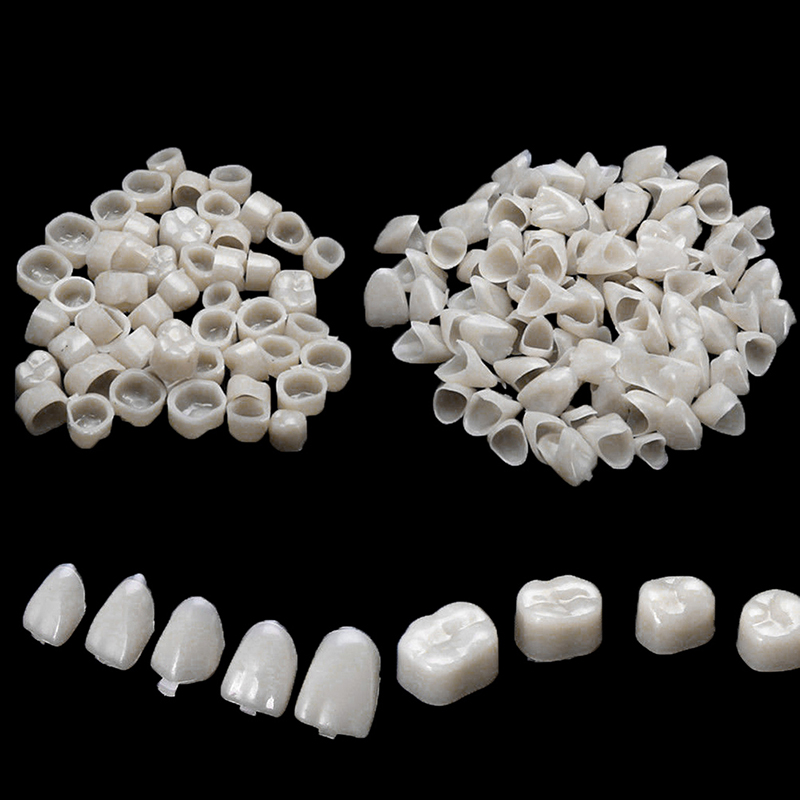 100pcs Dental Material Dental Teeth Veneers Ultra Thin Whitening Resin Molar Anterior Temporary Crown Porcelain Oral Care Tool